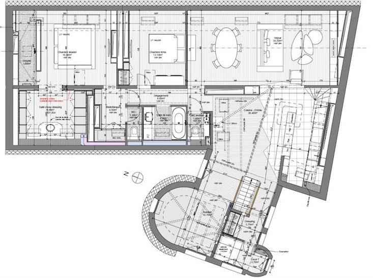 plan appartement sous les toits salle de bain