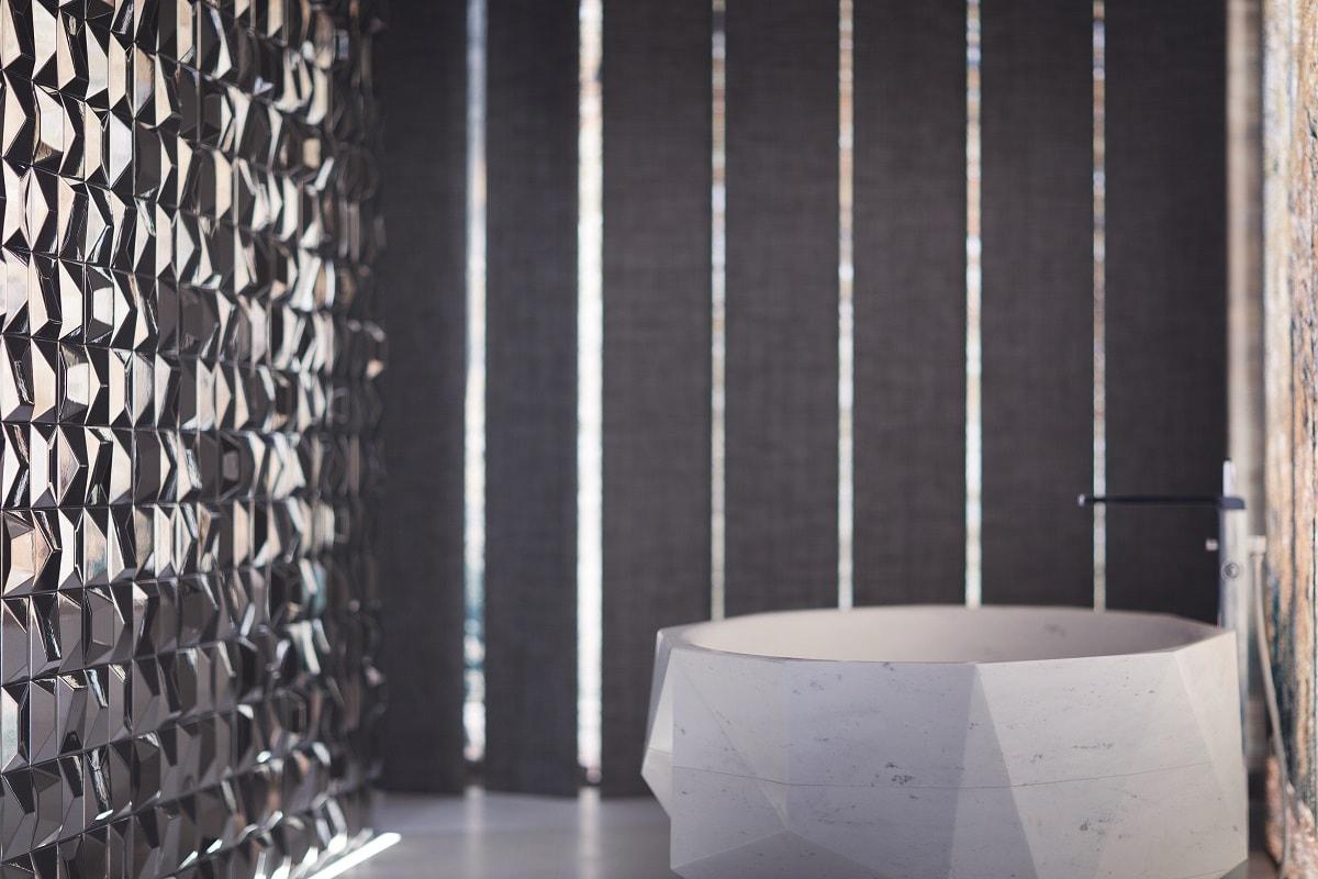 mur céramique effet mirroir