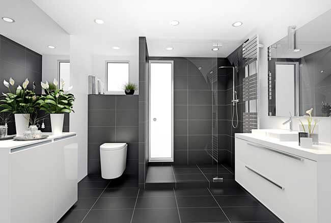 Exemples de douches à l\'italienne avec une marche - Concept bain