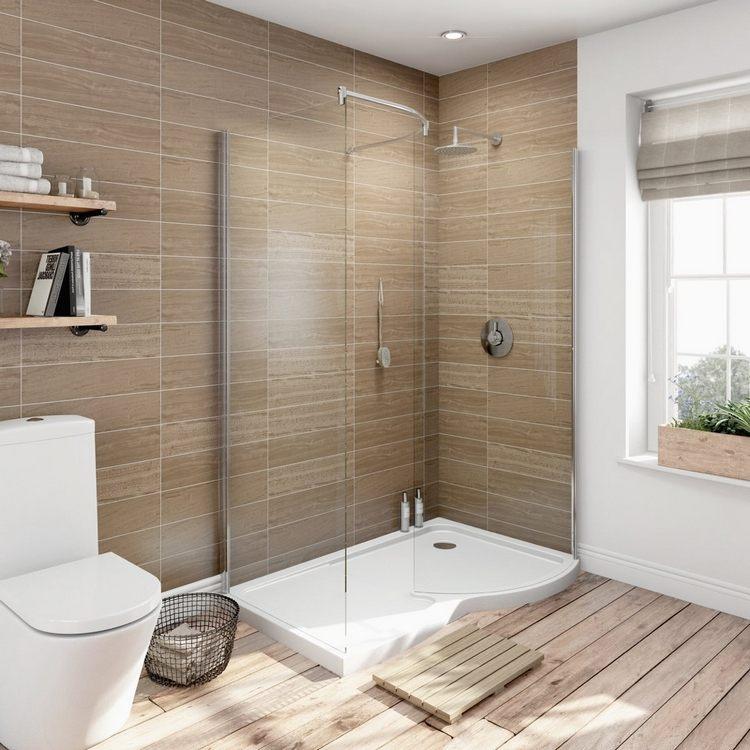 Salle bains design douche italienne carrelage imitation - Caillebotis salle de bains ...