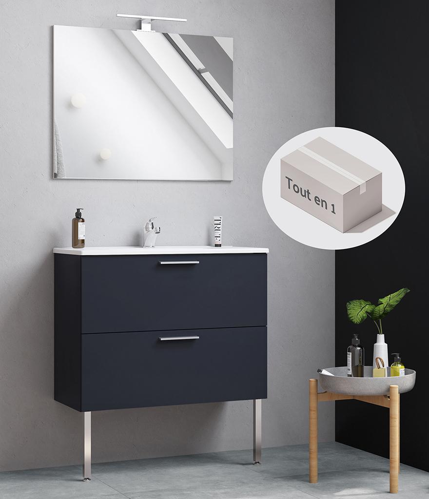 Miroir ultra-plat avec éclairage Led, pieds et poignées chromés, conceptbain.fr